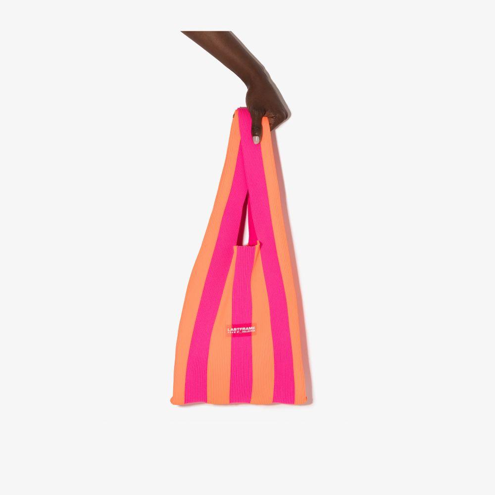 Pink And Orange Medium Striped Tote Bag
