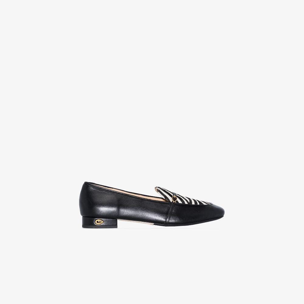 Black Fabrizio Zebra Print Leather Loafers