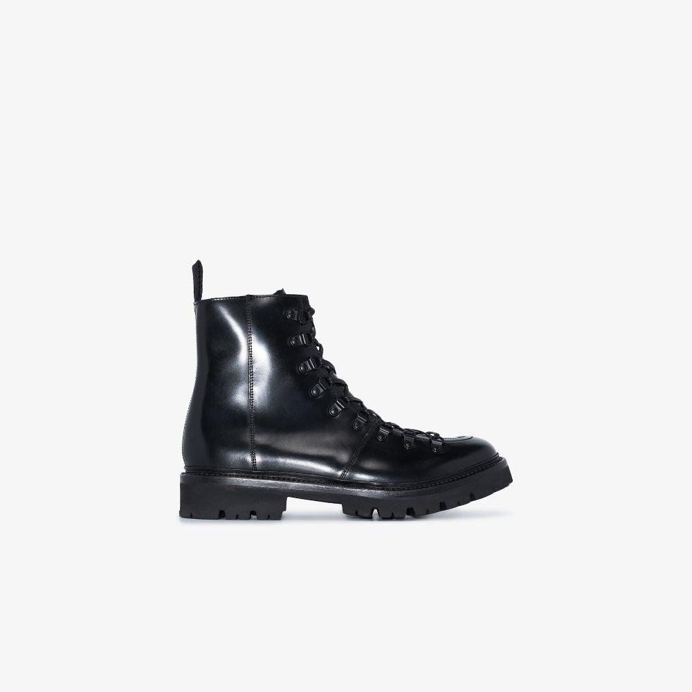 Black Nanette Leather Hiking Boots