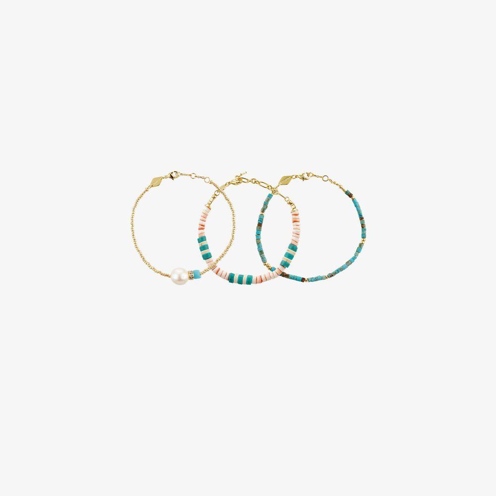 Gold-Plated Maui Beaded Bracelet Set