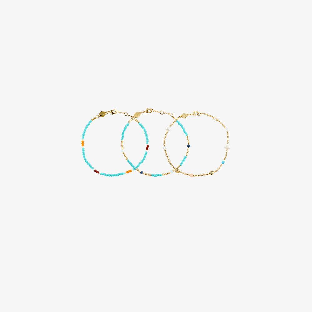 Gold-Plated Fruit D'Or Beaded Bracelet Set