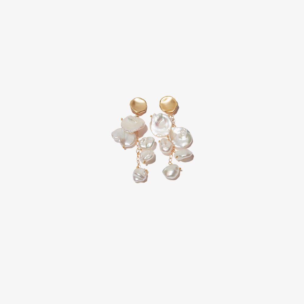 Gold-Plated Petal Pearl Drop Earrings