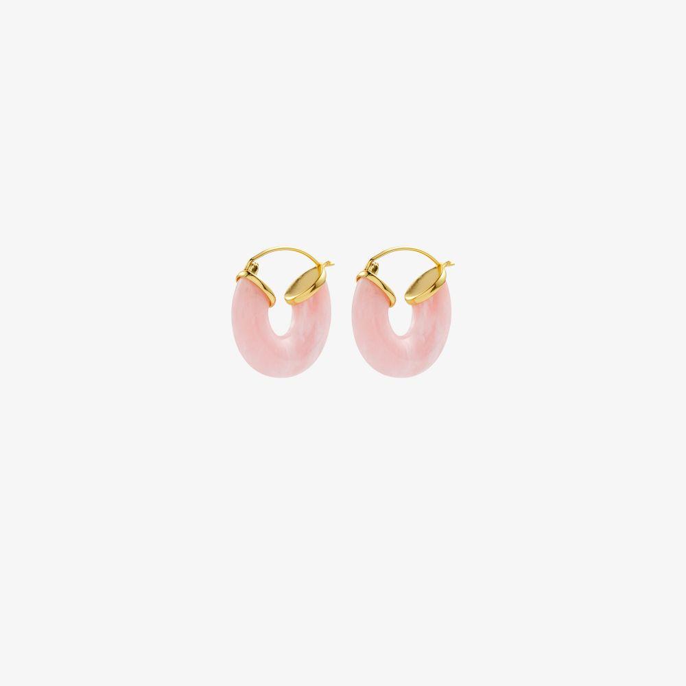 Gold-Plated Rose Swell Hoop Earrings