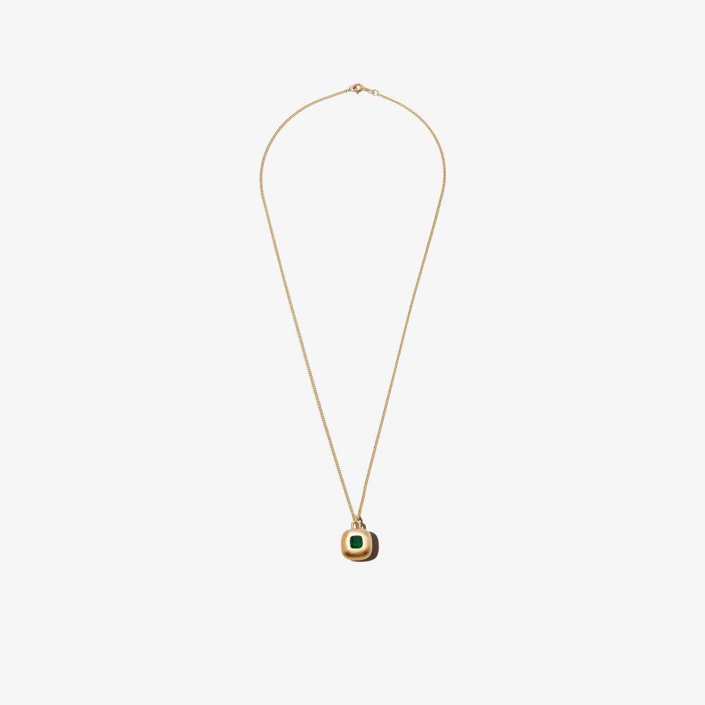 Shola Branson 9k Yellow Gold Emerald Bubble Necklace
