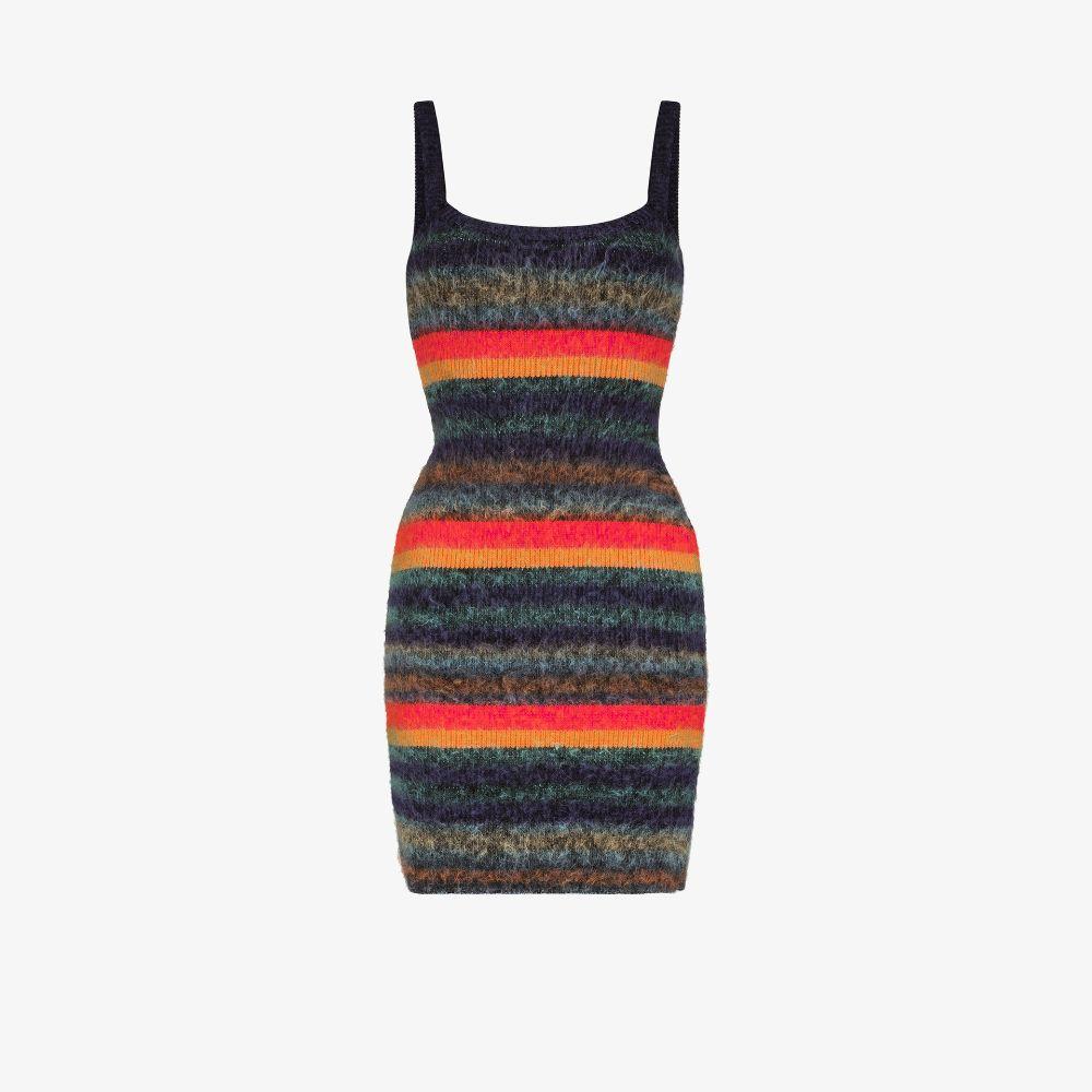 Striped Brushed Knit Mini Dress