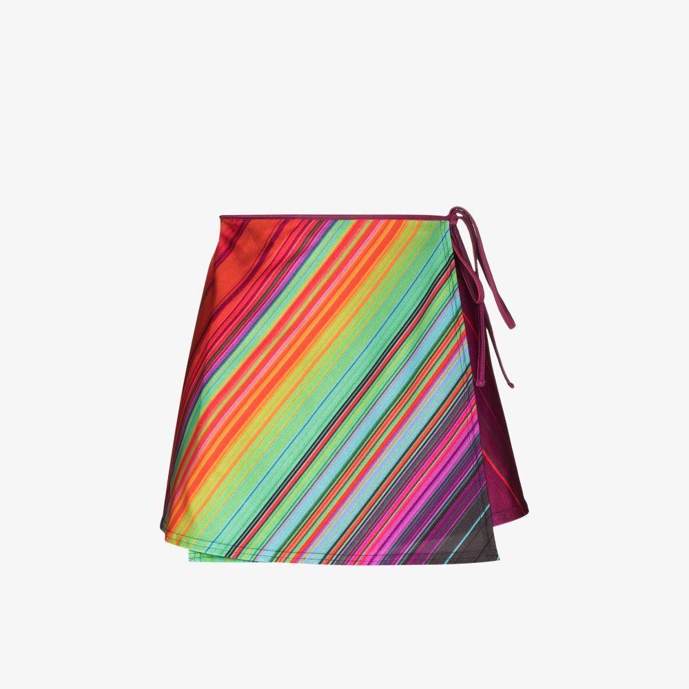 Striped Mini Wrap Skirt