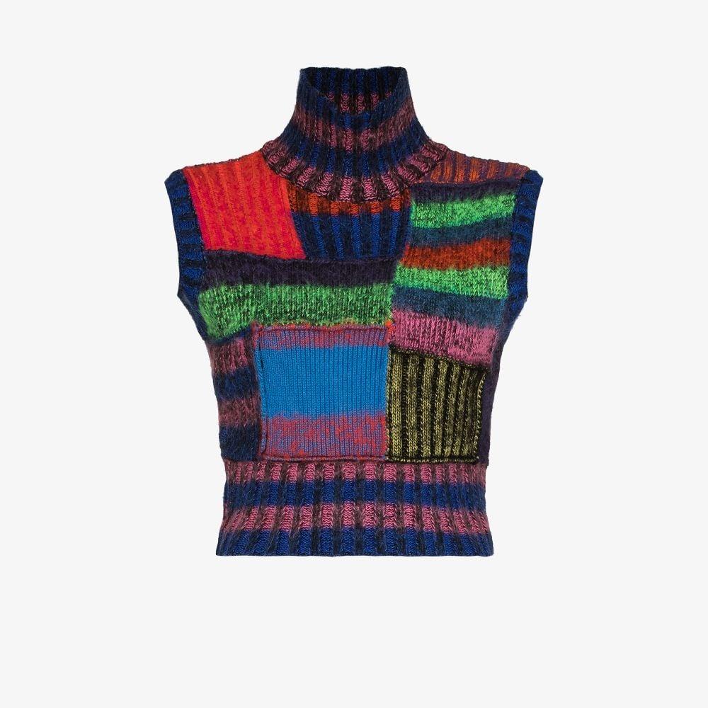 Patchwork Striped Sweater Vest