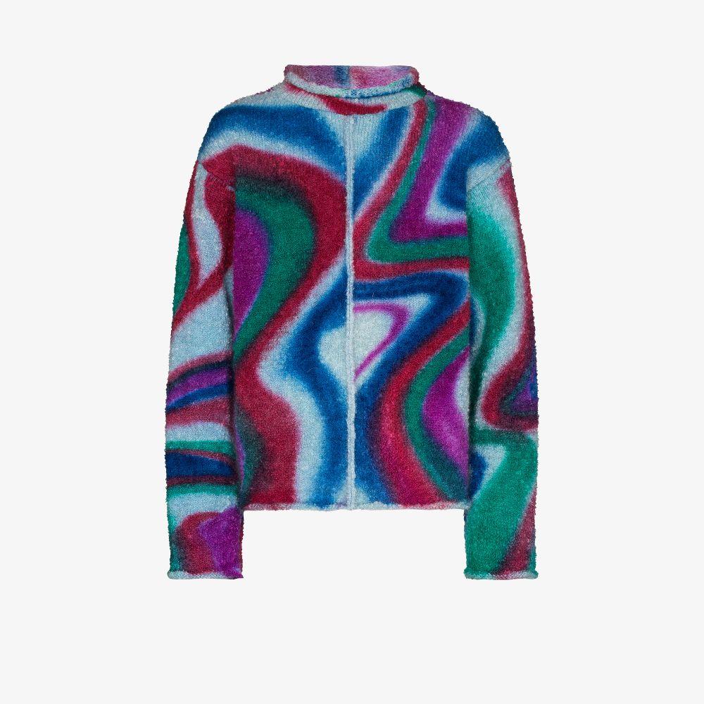 Swirl Pattern Bouclé Sweater
