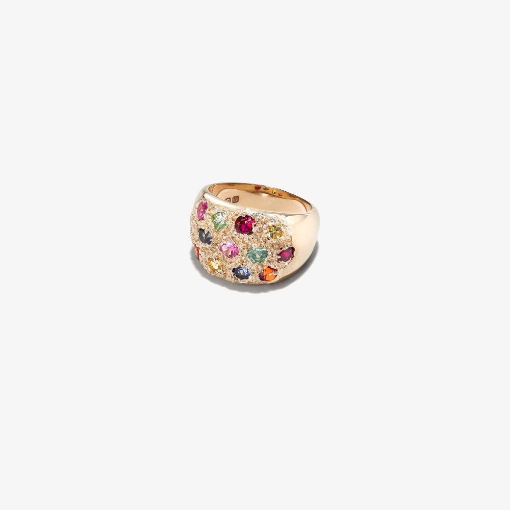 9K Yellow Gold Grand Riviera Sapphire Ring