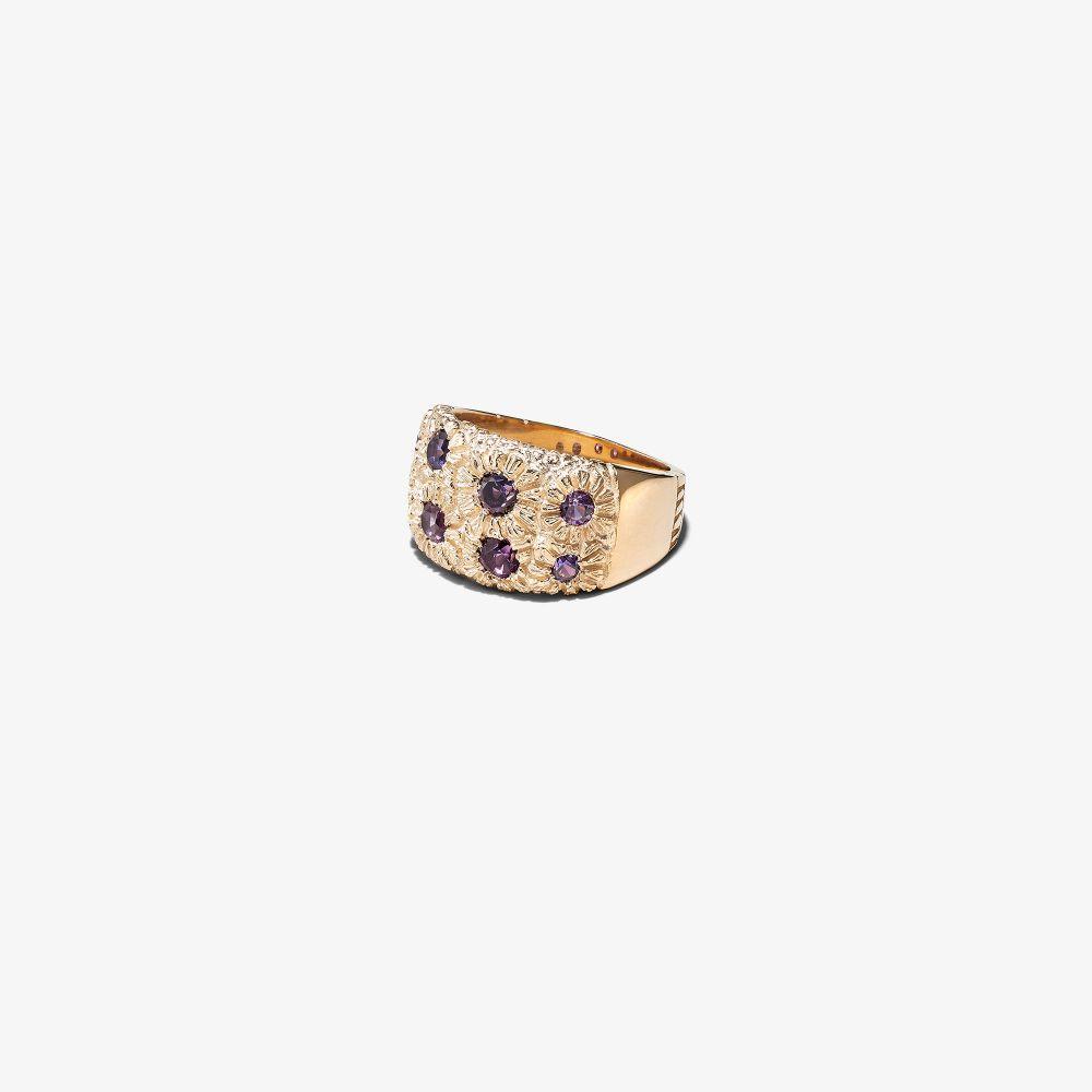 9K Yellow Gold Bouquet Sapphire Signet Ring