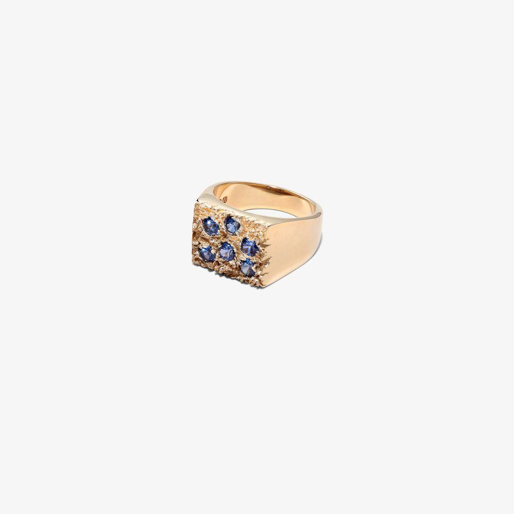 9K Yellow Gold Grand Rose Garden Sapphire Signet Ring