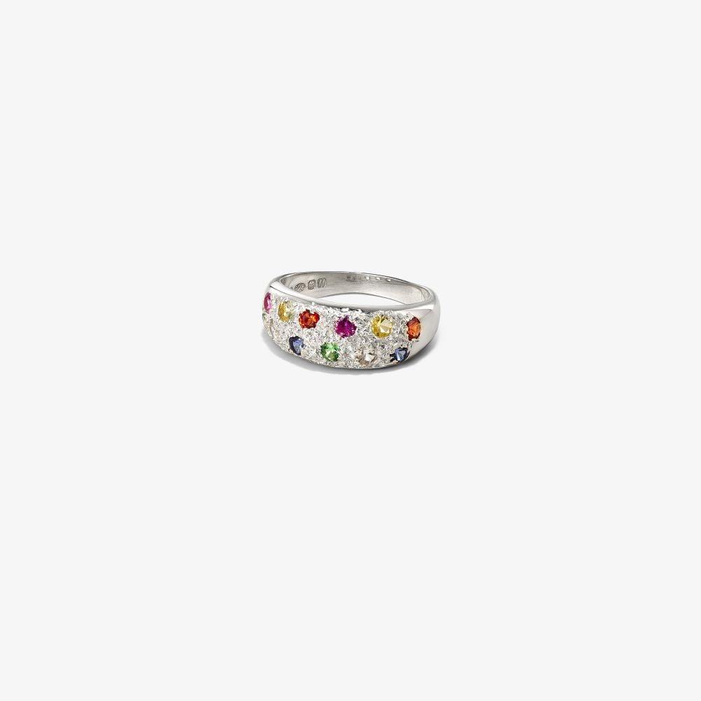 Sterling Silver Mini Riviera Sapphire Ring