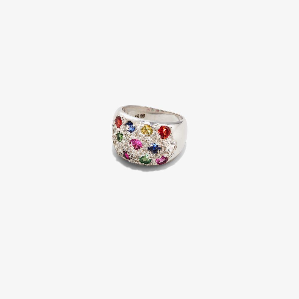 Sterling Silver Grand Riviera Sapphire Ring