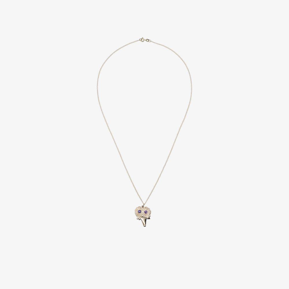 9K Yellow Gold Sapphire Bouquet Necklace
