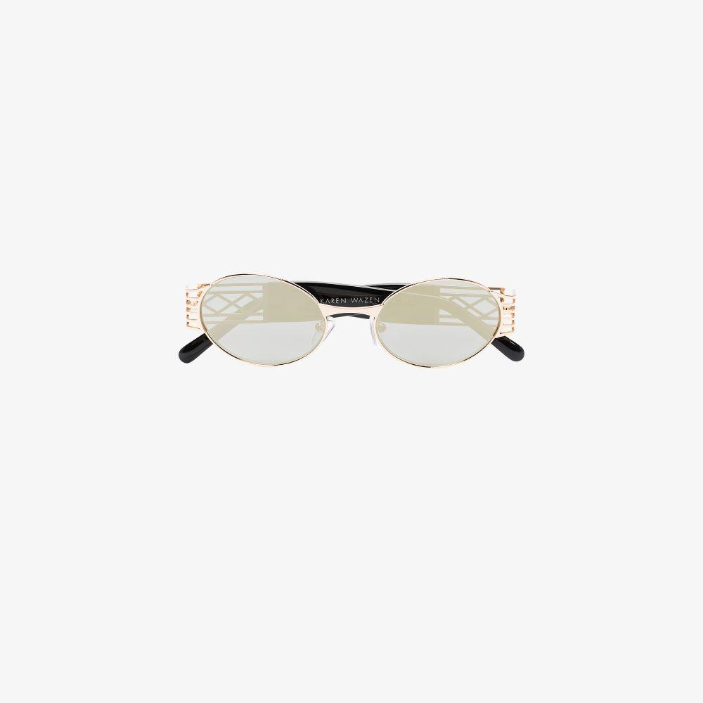 Gold Tone Pam Oval Sunglasses