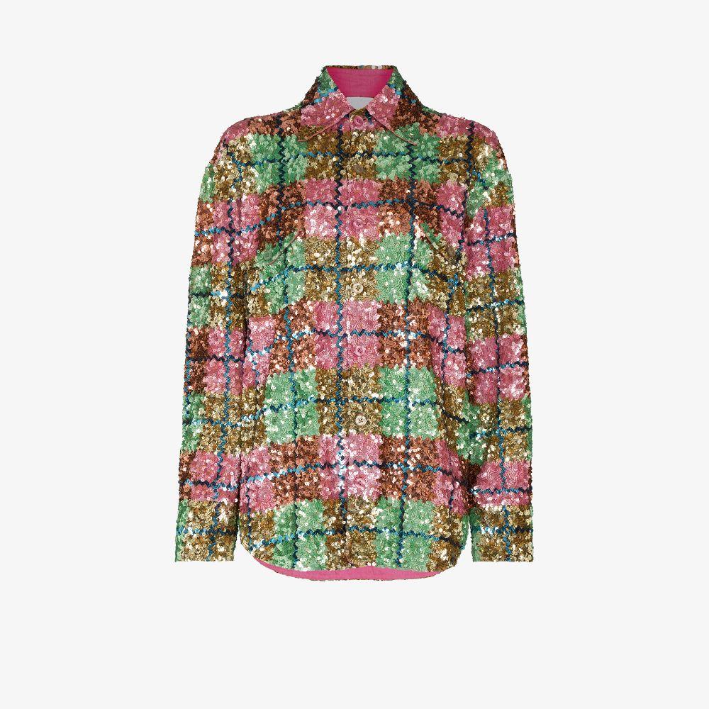 Sequinned Plaid Shirt