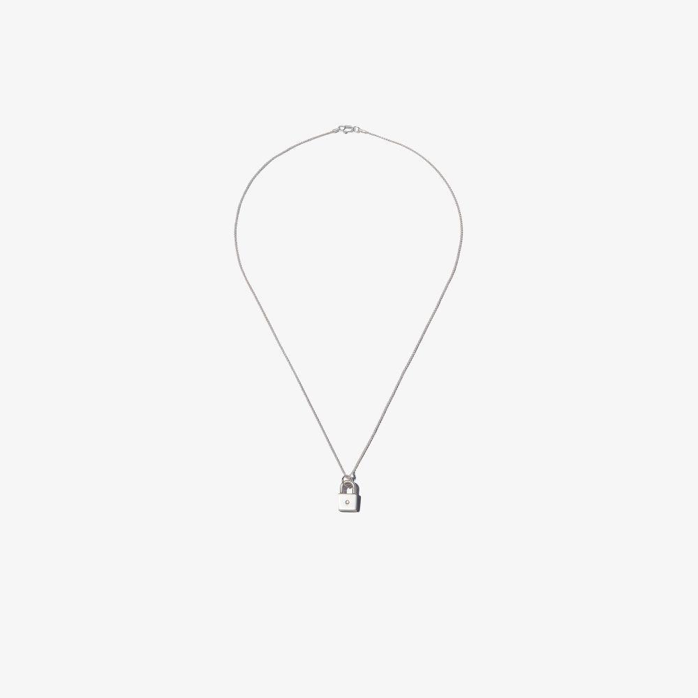 Sterling Silver Padlock Diamond Necklace