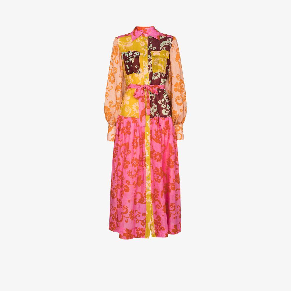 Luis Patchwork Midi Shirt Dress