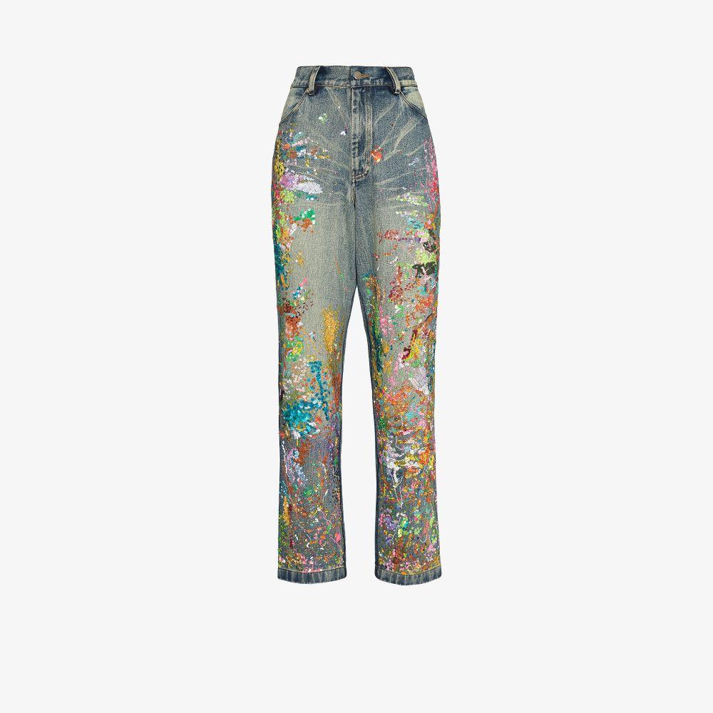 Sequinned Straight Leg Jeans