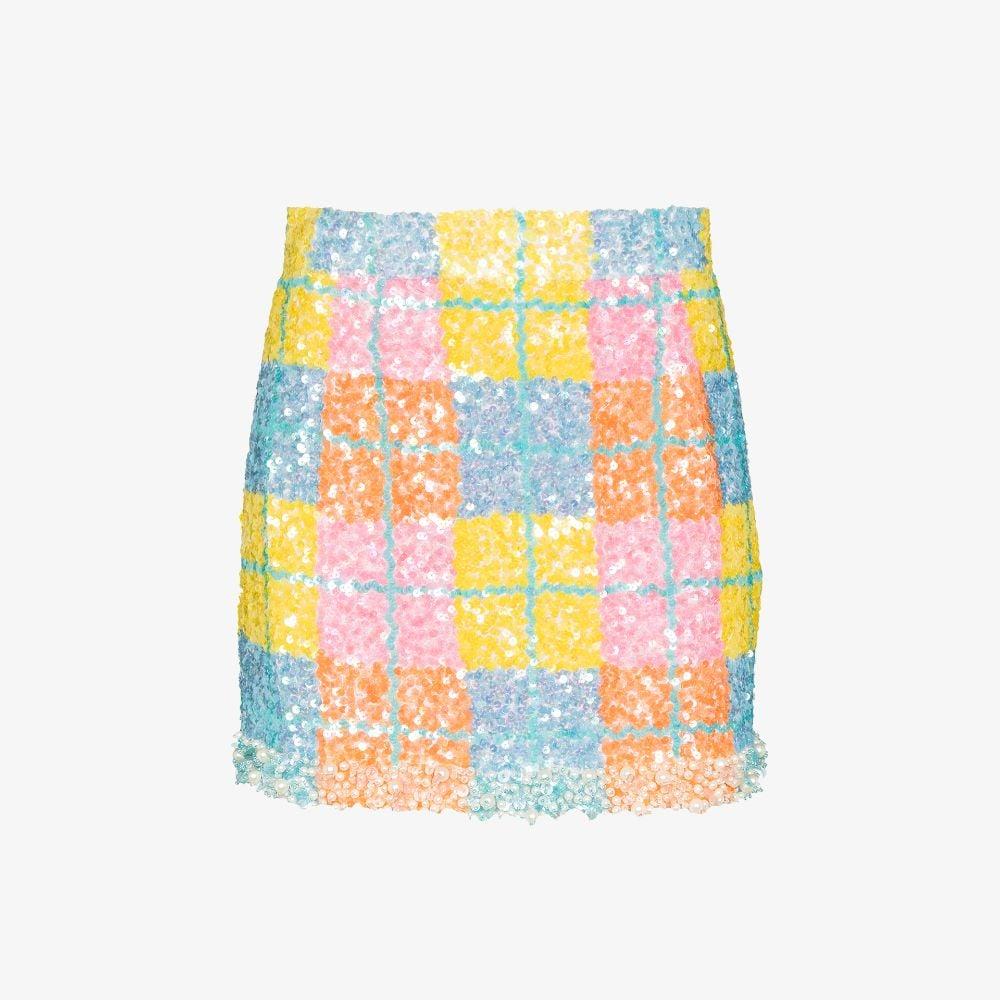Plaid Sequinned Mini Skirt