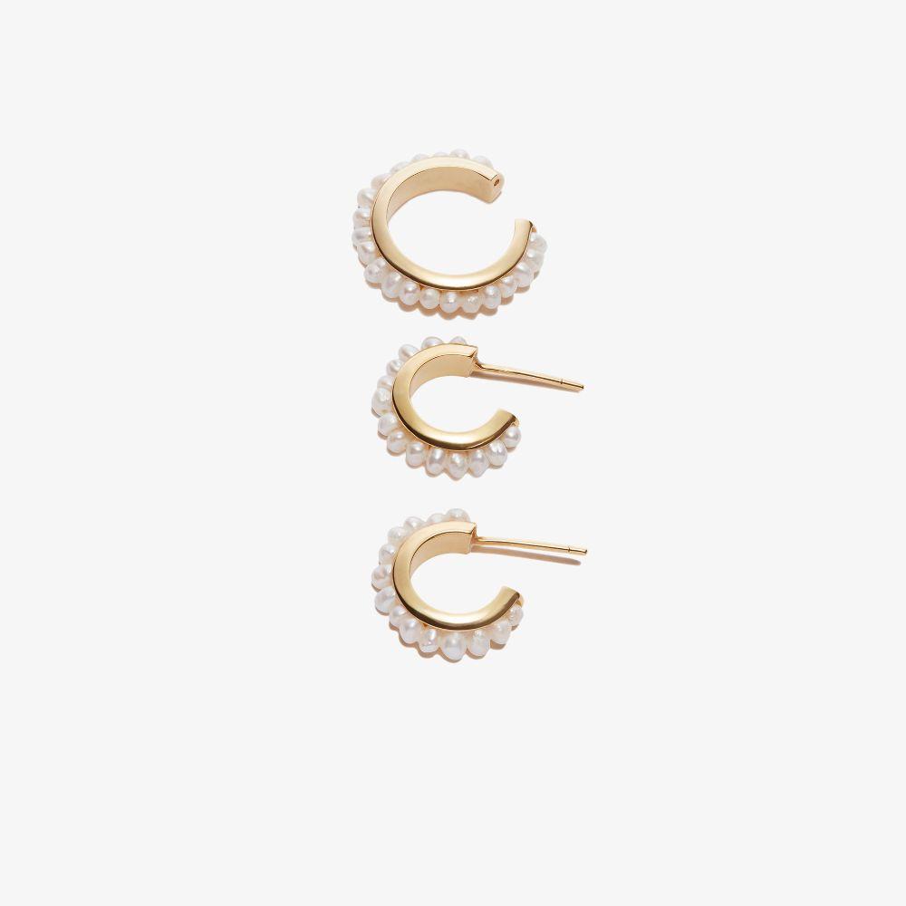 Gold-Plated Luna Mini Pearl Hoop Earring Set