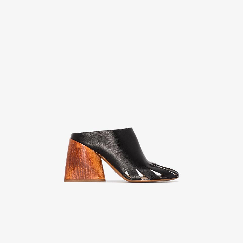 Black Sciola 85 Leather Mules