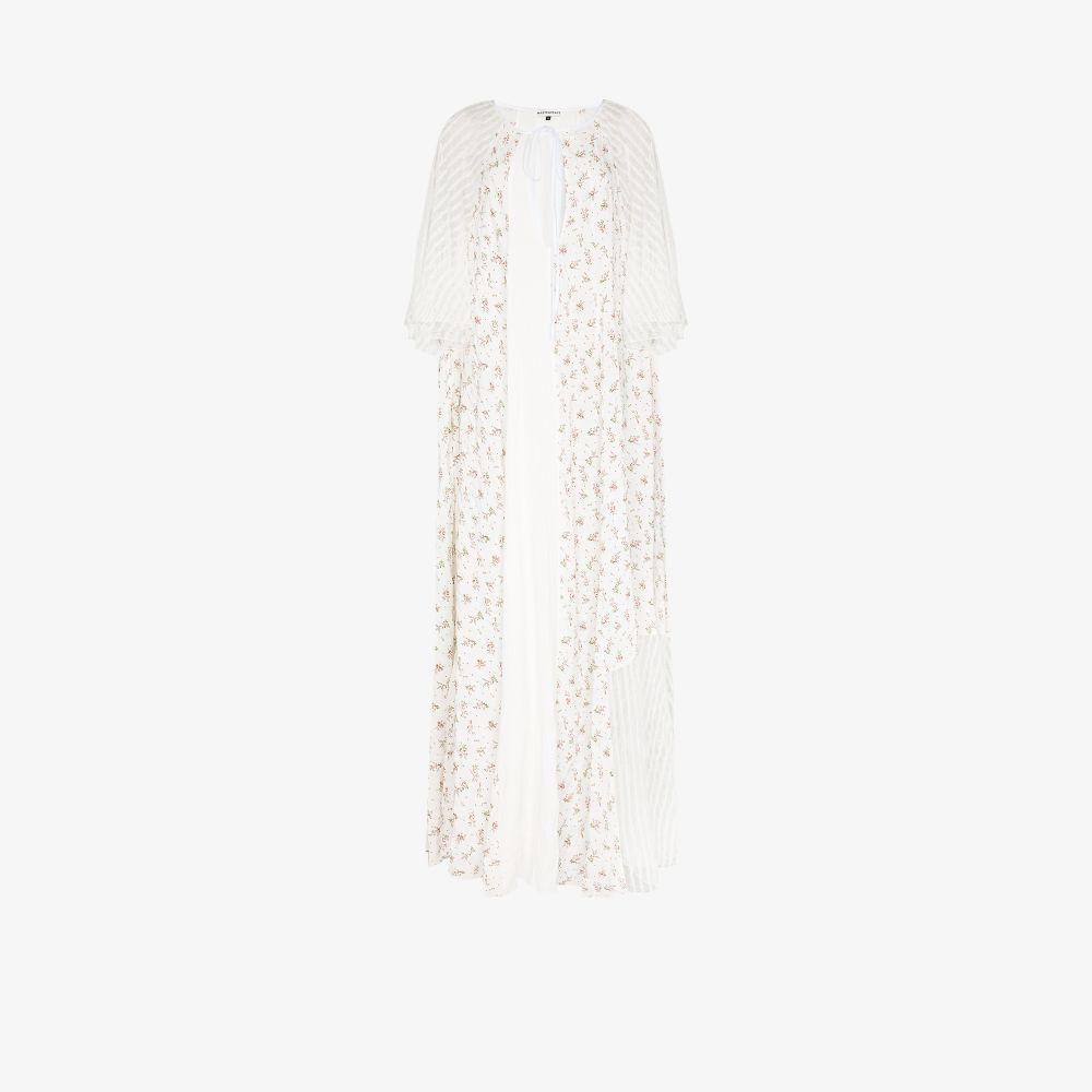 Striped Lace Floral Maxi Dress