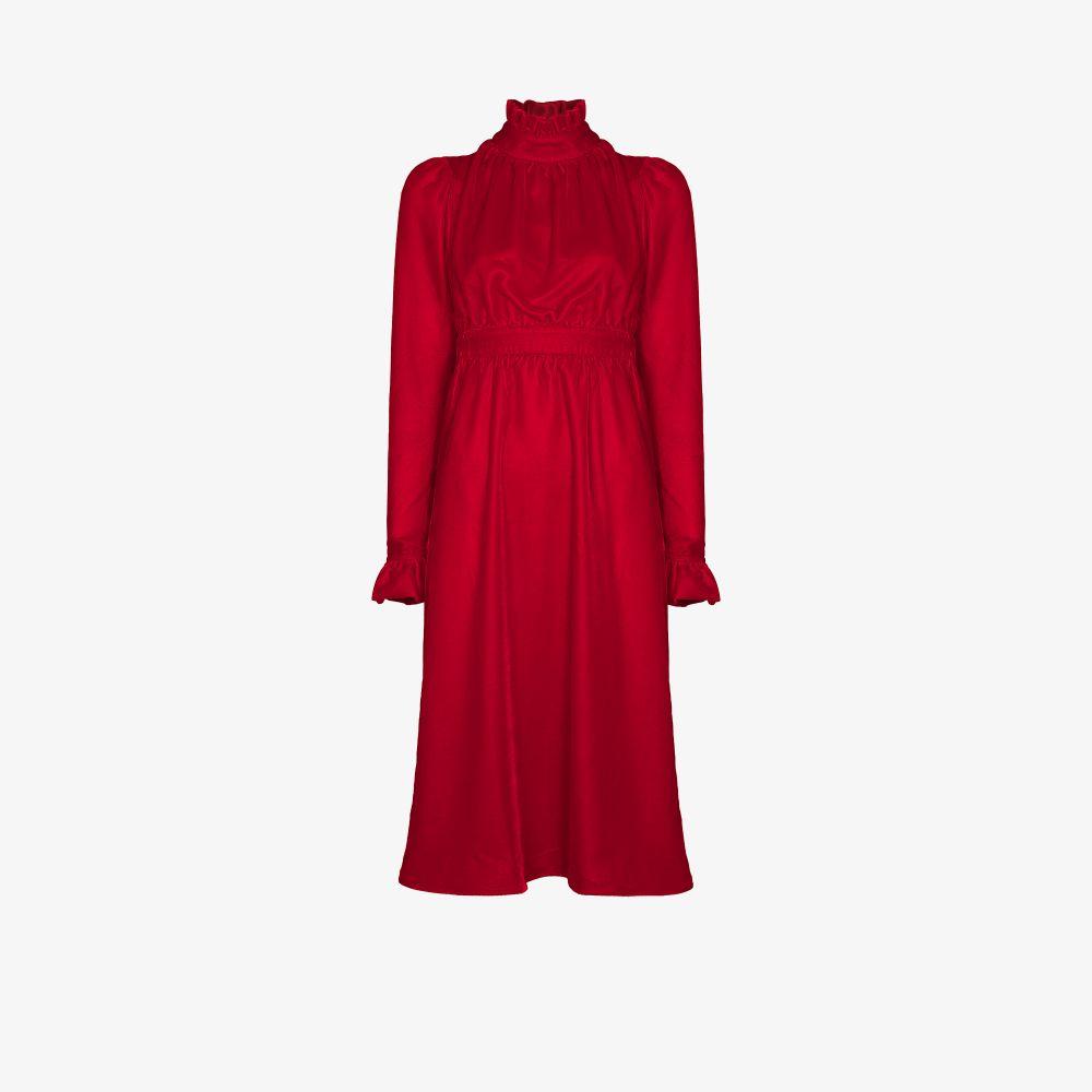 Ruffled Neck Velvet Dress