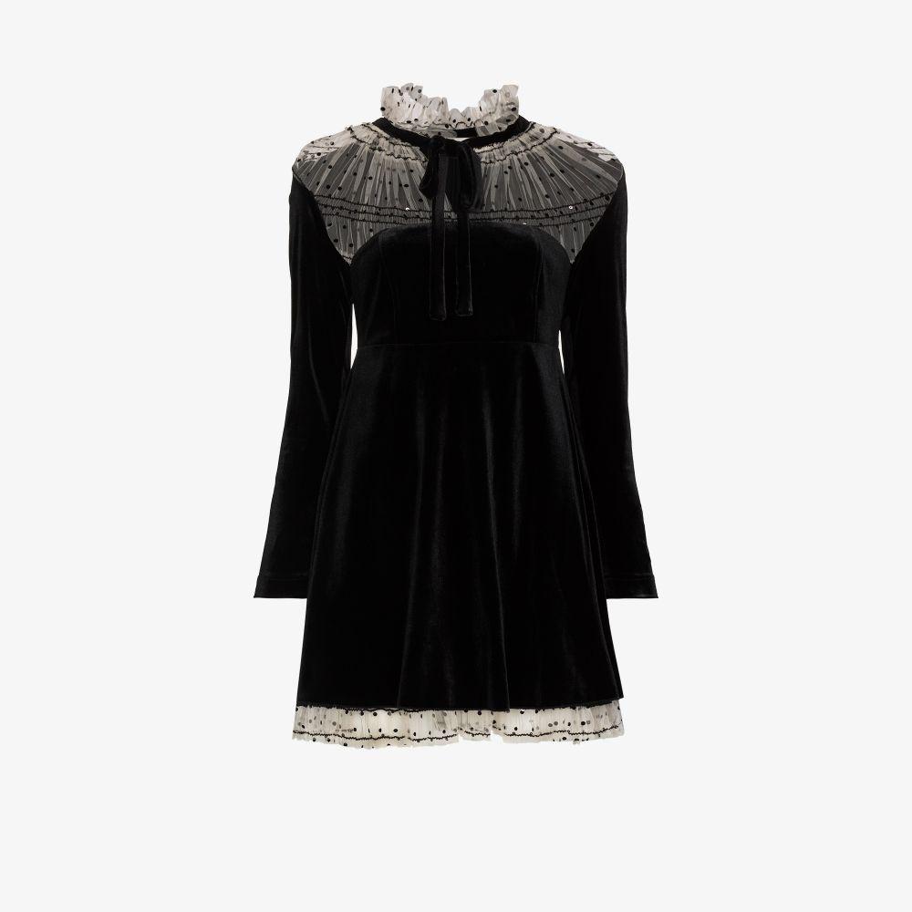Ruffle Neck Velvet Mini Dress
