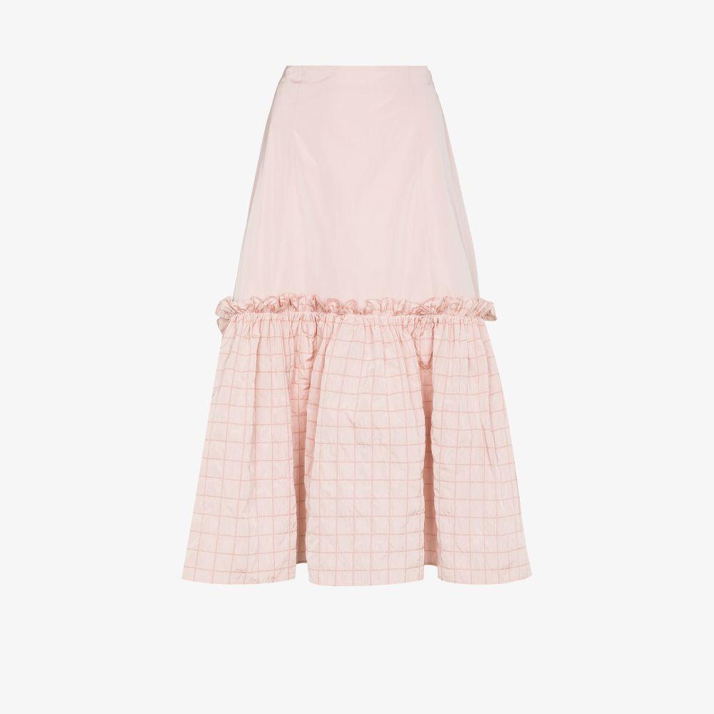 Anne Check Ruffled Midi Skirt
