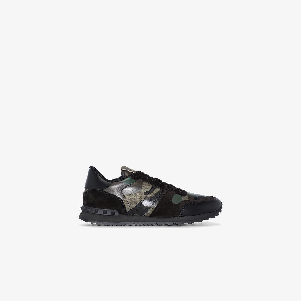 Valentino Garavani Black Rockrunner Camouflage Sneakers