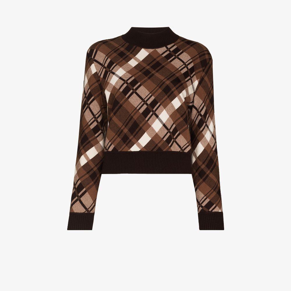 Plaid Merino Wool Cropped Sweater