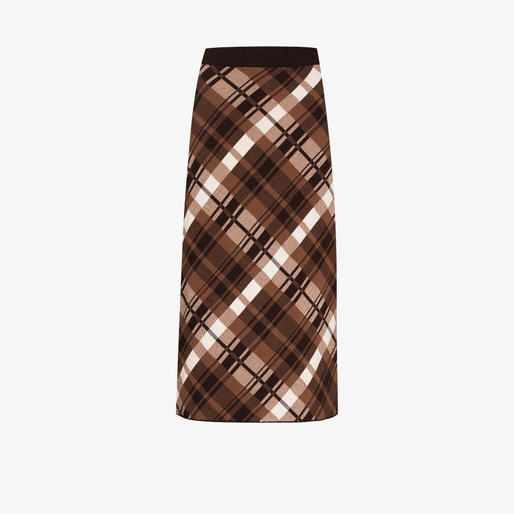Vase Checked Jacquard Knit Midi Skirt