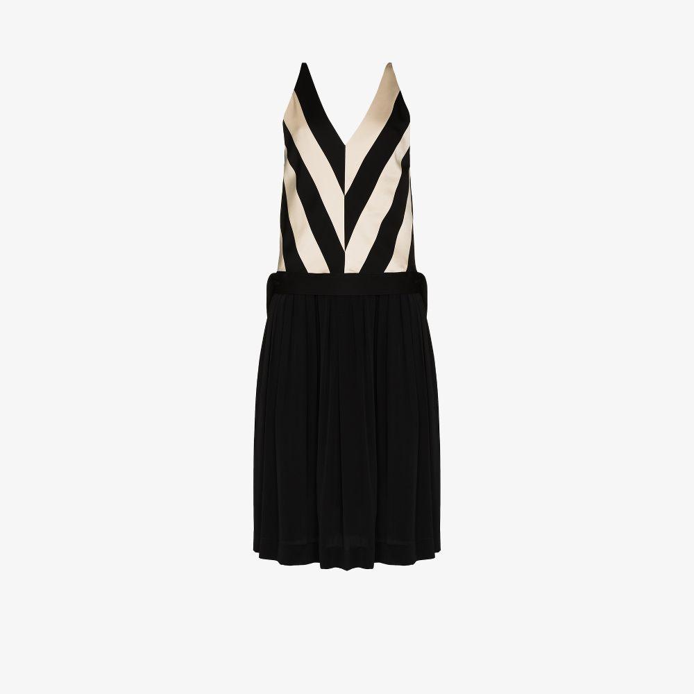 Midnight Striped V-Neck Midi Dress