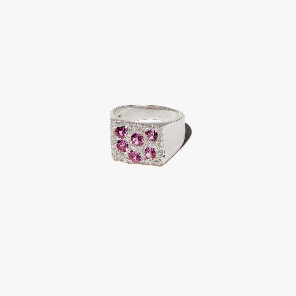 Sterling Silver Rose Garden Sapphire Signet Ring