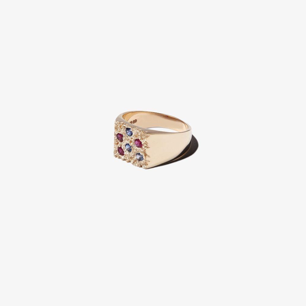 9K Yellow Gold Mini Rose Garden Sapphire Signet Ring