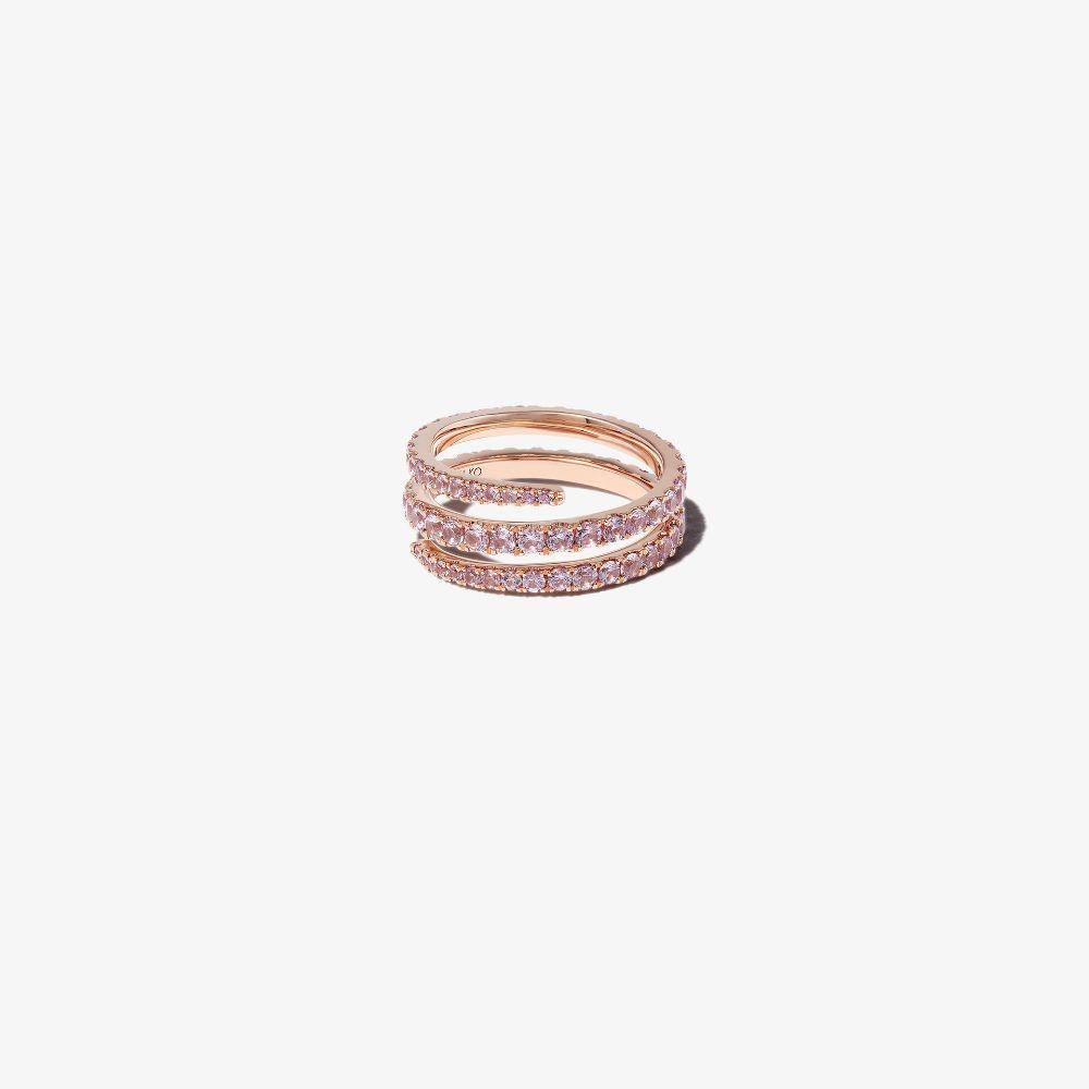 Anita Ko 18k Rose Gold Coiled Sapphire Ring In Pink