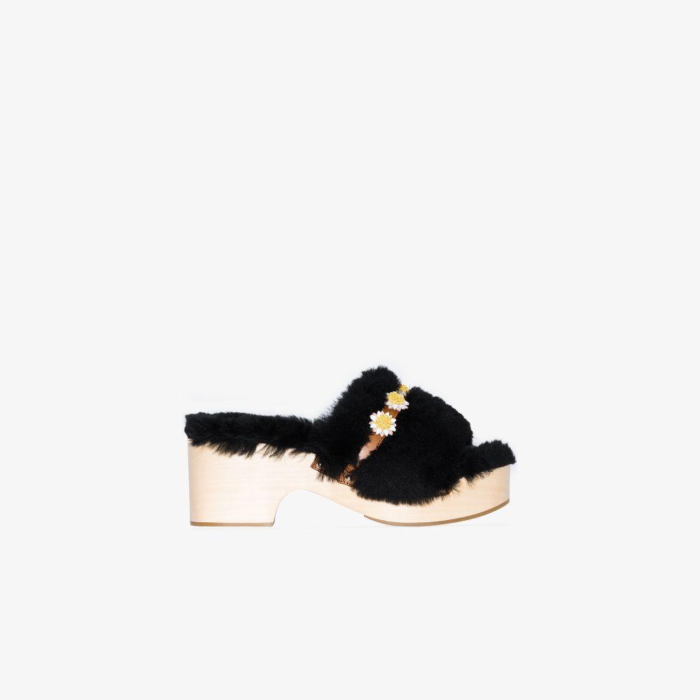 Black Dolly 40 Shearling Platform Sandals