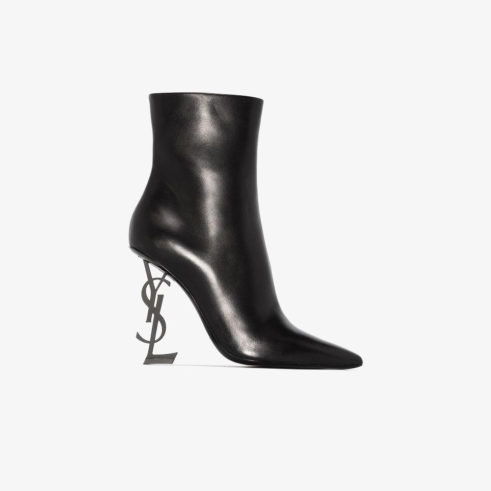 Saint Laurent Black Opyum 105 Leather Ankle Boots
