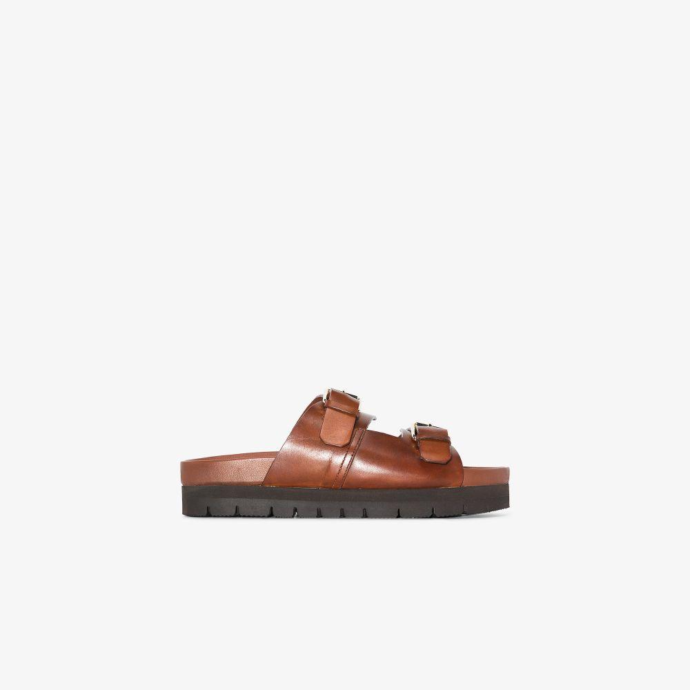 Brown Flora Flatform Leather Sandals