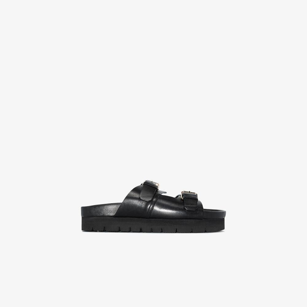 Black Flora Flatform Leather Sandals