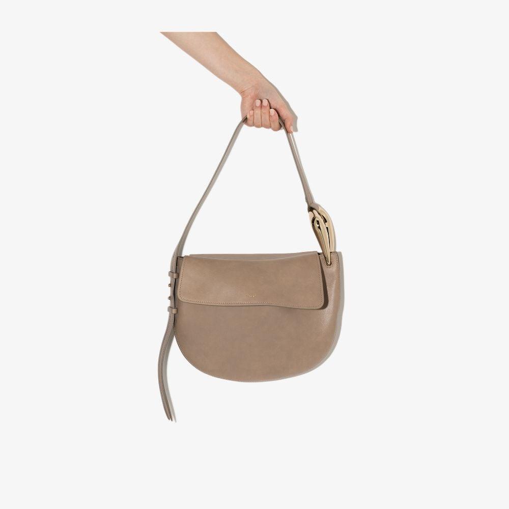 Chloé Neutral Kiss Leather Shoulder Bag In Neutrals