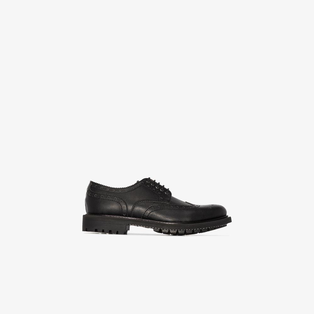 Black Archie Faux Leather Brogues