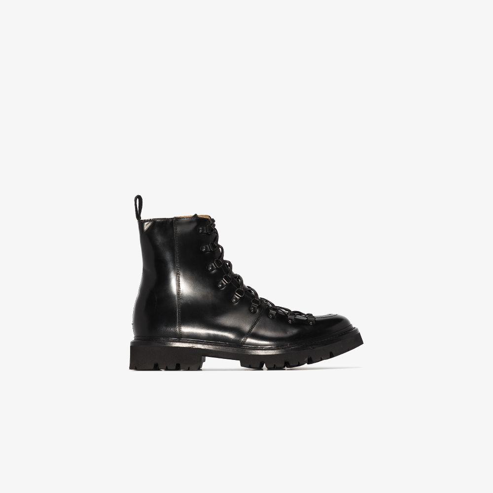 Black Brady Leather Lace-Up Boots