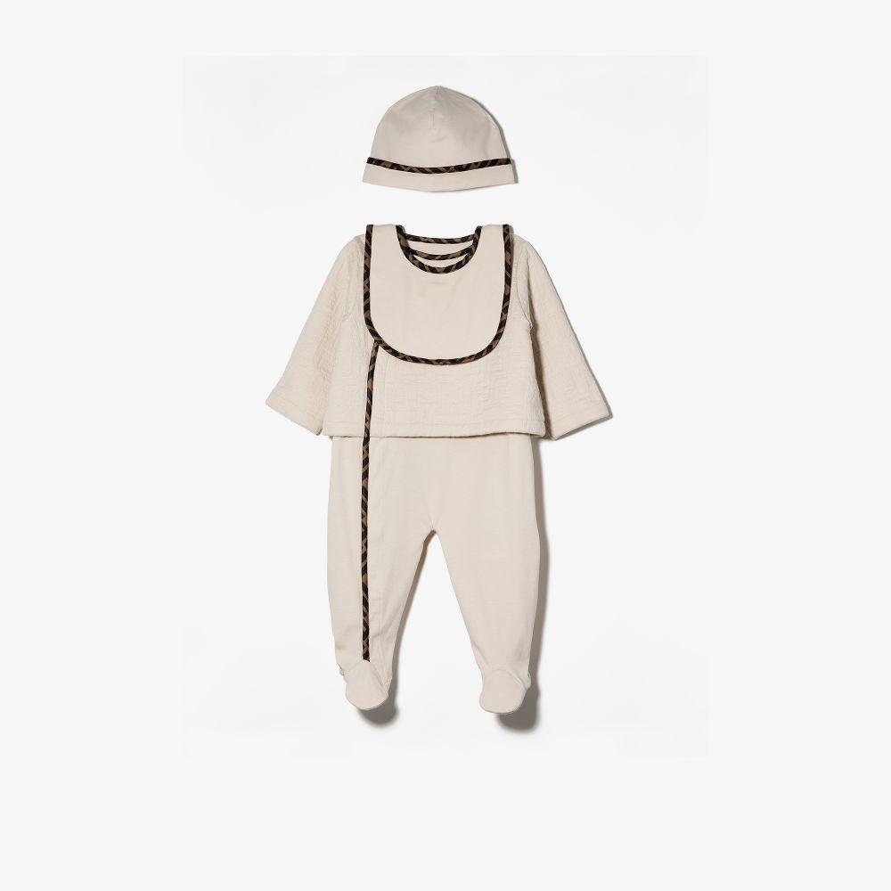 Fendi Neutrals Baby Monogram Trim Babygrow Set