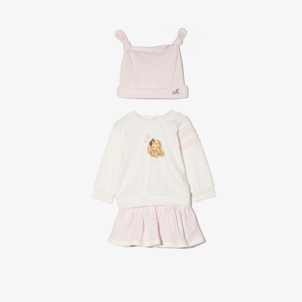 Monnalisa Pink Baby Printed Hat, Top And Skirt Set