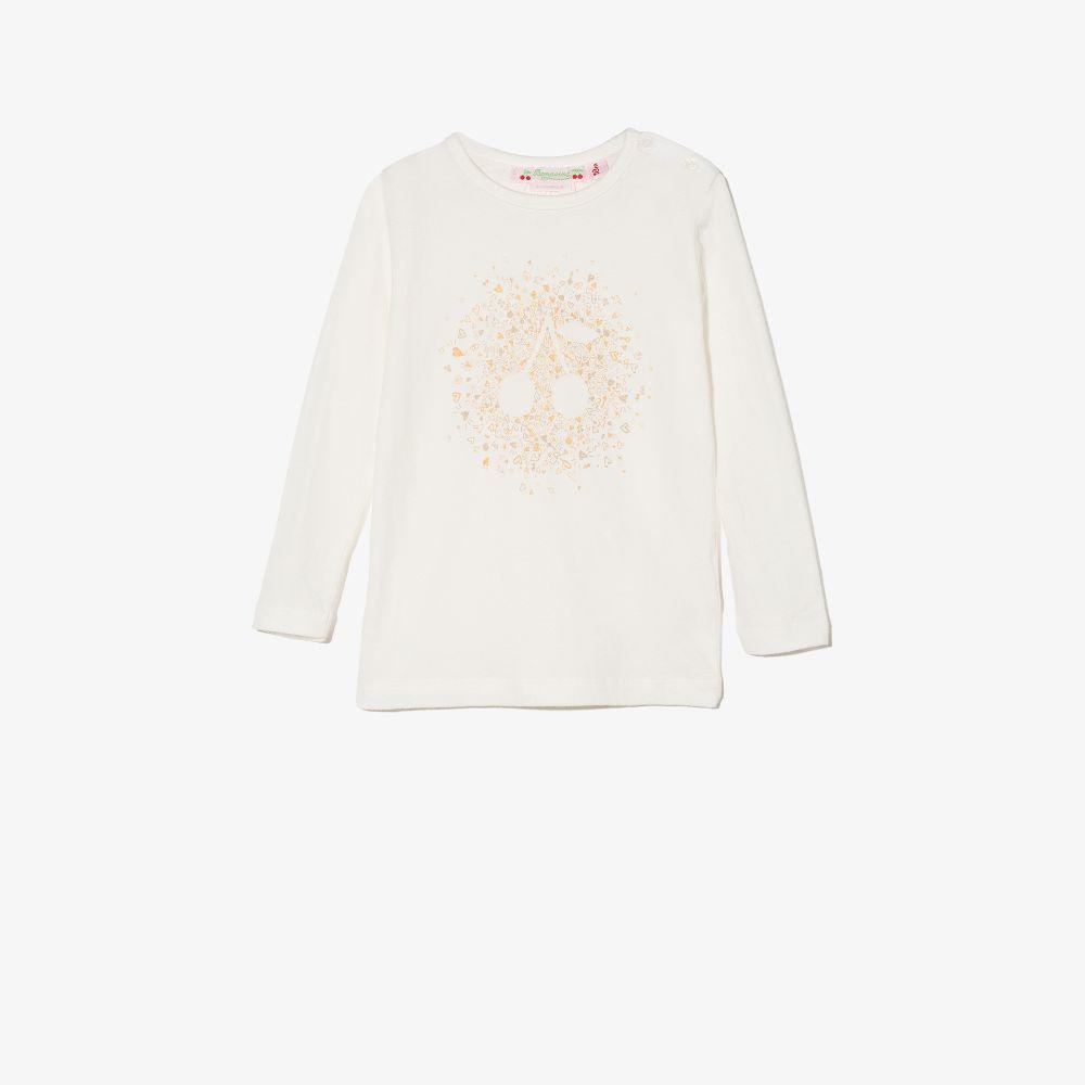 Bonpoint White Baby Cherry Print Long Sleeve T-shirt