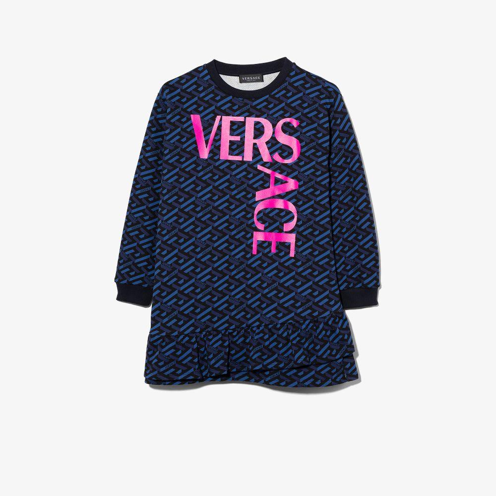 Versace Kids' Blue Monogram Logo Sweatshirt Dress