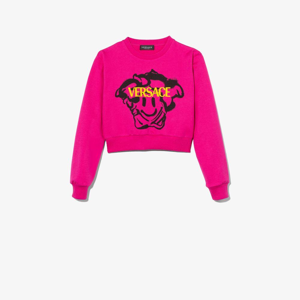 Versace Kids' Pink Medusa Emoji Print Cropped Sweatshirt