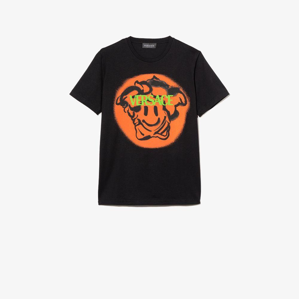 Versace Kids' Black Medusa Emoji Print T-shirt